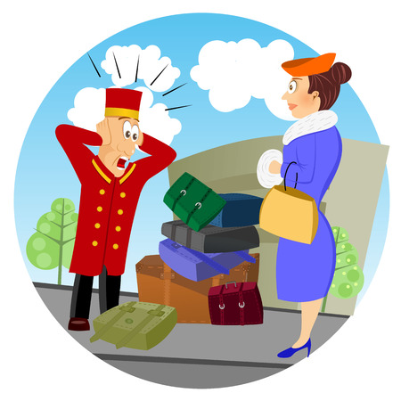 bellhop: illustration of confused business bellhop standing in front of luggage of woman
