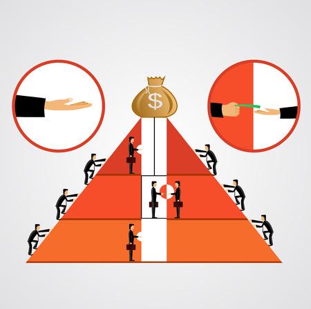 bestechung: Abbildung der Pyramide von Bestechungsgeldern, wie einige Gesch�ftsleute klettern die Pyramide andere hinauf den Aufzug Bestechungsgelder Illustration