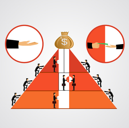 bribery: illustration of pyramid of bribes as some businessmen climbing the pyramid others going up the elevator giving bribes