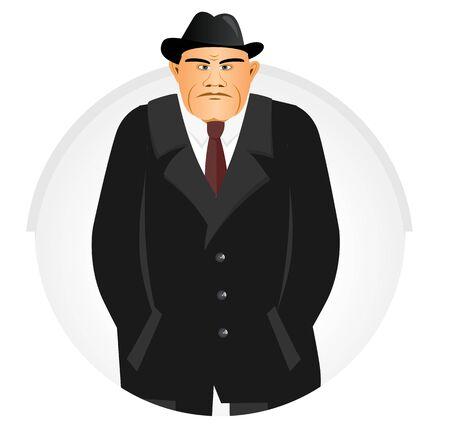 illustration of mature mafia boss holding his hand in his pocket Illustration