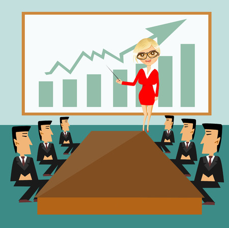 illustration of business woman with pointer conducting a business meeting or presentation Çizim