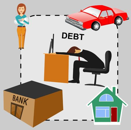 dept: illustration of debt concept cartoon, flat design business man in dept surrounded by house bank car his wife and two children Illustration