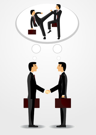 mentally: businessmen shaking hands with each other and mentally fighting