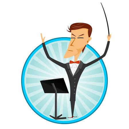 illustration of cartoon man conducting an orchestra Illusztráció