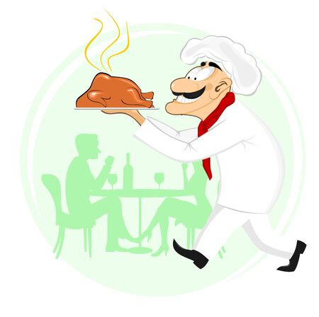 roast chicken: illustration of smiling cook holding plate with roast chicken