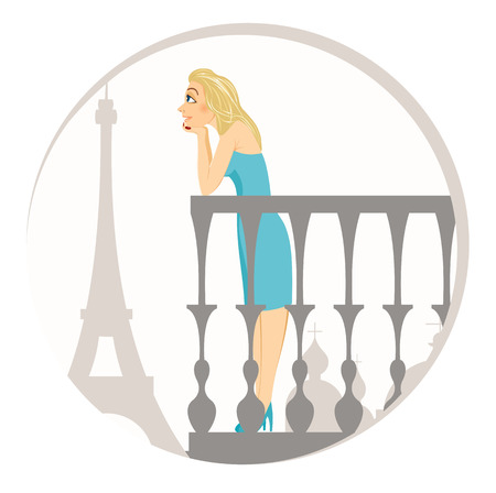 woman dreaming: illustration of beautiful blonde woman standing on a balcony in paris dreaming
