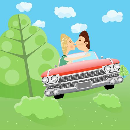 ilustración del hombre y la mujer besándose en un coche en el bosque