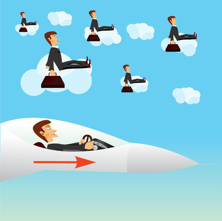 navigating: illustration of businessman navigating a fighter plane