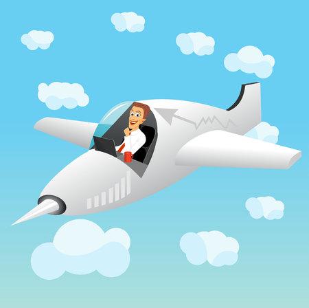 fighter plane: illustration of businessman working on laptop navigating a fighter plane