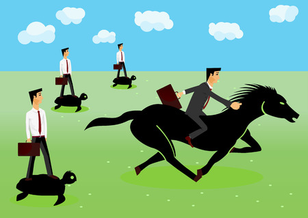 him: racing -  businessman riding a horse, behind him other businessmen riding on turtles