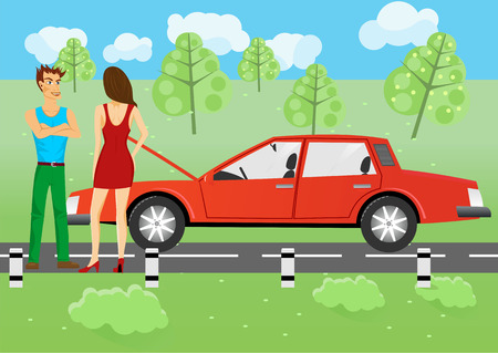 illustration of man and woman standing near a car, man wants to help her repair her car