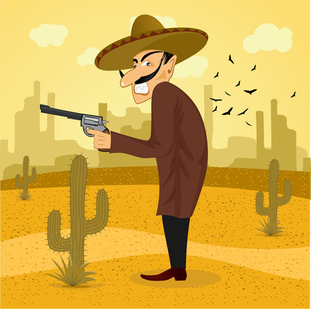 gunman: illustration of cartoon mexican bandit with revolver wearing a huge sombrero standing in the desert