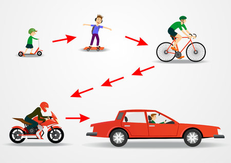 illustration of mode of transportation - scooter and skateboard and bicycle and motorcycle car Vectores