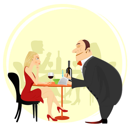 illustration of obliging waiter taking order in restaurant or cafe