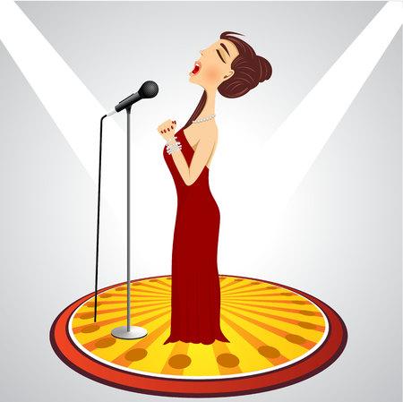 illustration de bande dessinée chanteuse avec microphone