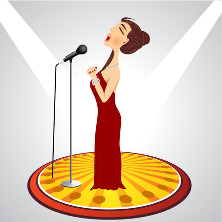 cartoon singing: illustration of cartoon female singer with microphone Illustration