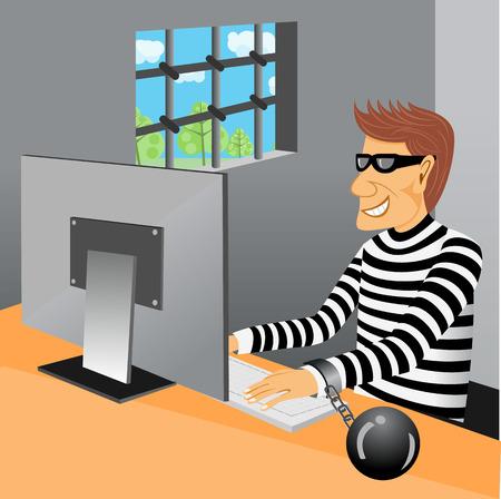 killer cells: illustration of prisoner sitting in his prison cell working at computer Illustration
