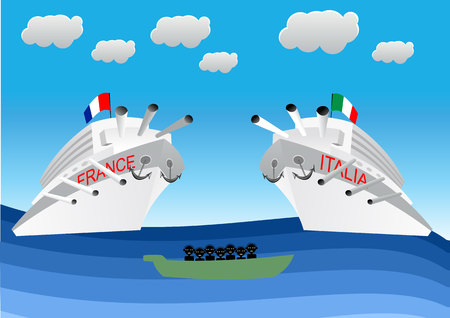 lifeboat: illustration of illegal migrants on lifeboat floating in front of Italian and Franch warships. Concept for lifeguard, navy patrol
