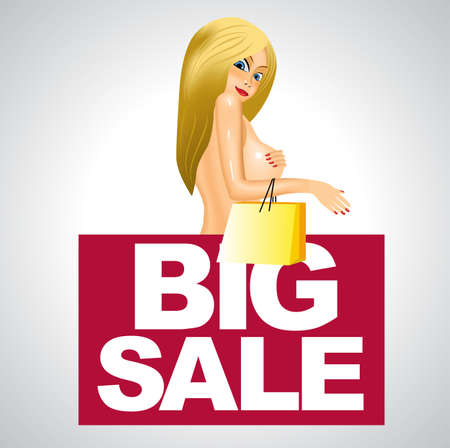 nude woman: illustration of beautiful nude woman covering her breast with her hand holding shopping bag over big sale business banner Illustration