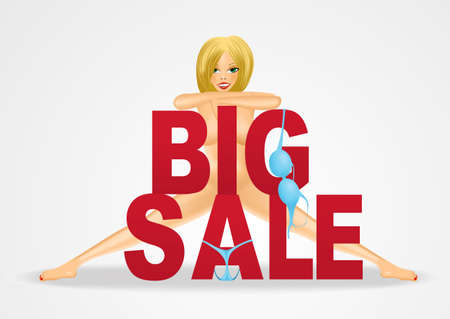 nude woman: beautiful sexy blond nude woman standing behind big sale text