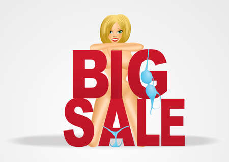 nude woman: beautiful sexy smiling blond nude woman standing behind big sale text