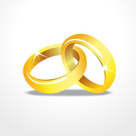 wedding rings: illustration of couple of gold wedding rings on white background
