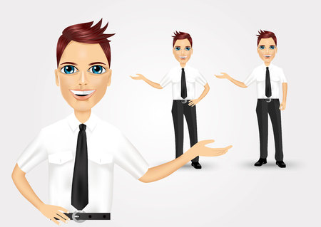 is interesting: successful young business man showing something interesting against white background Illustration