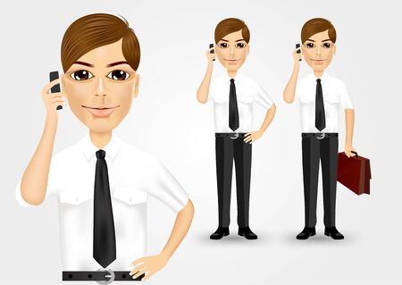 business phone: illustration of business man with briefcase talking on the phone