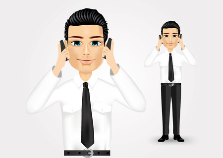 one people: caucasian young businessman talking on two cell phones at the same time