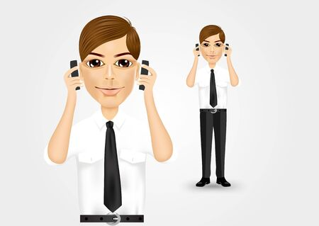 holding smart phone: illustration of young businessman talking on two cell phones at the same time