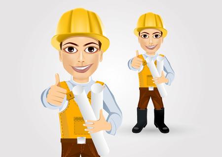 彼の親指をあきらめてテープ青写真と一緒に建設エンジニア ワーカー ビルダー  イラスト・ベクター素材