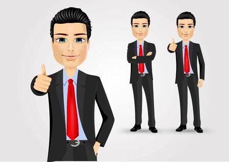 smart man: illustration of business man giving thumbs up Illustration