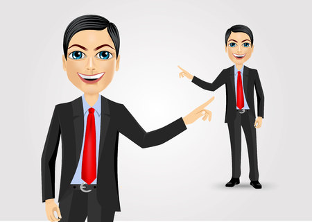 érdekes: successful young business man pointing at something interesting against white background Illusztráció