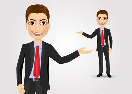 illustration of successful young business man showing something interesting against white background Illustration