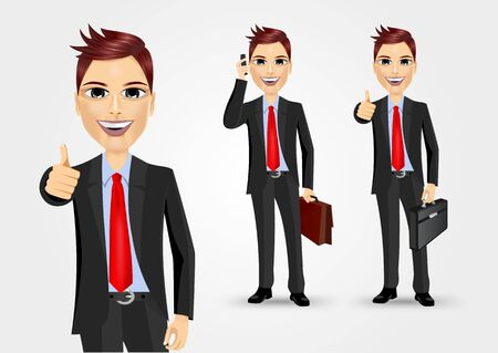 thumbs: illustration of businessmen with briefcases giving thumbs up and talking on the phone Illustration