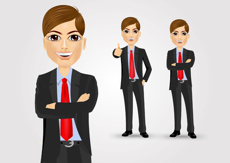 crossed arms: illustration of young businessman with crossed arms