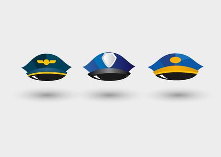 peaked cap: set of pilots service cap, police peaked cap and postmans hat