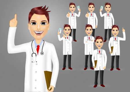 medical doctors: set of medical workers, doctors isolated on grey background