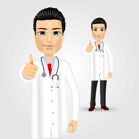 male's thumb: portrait of a friendly doctor smiling giving thumbs up