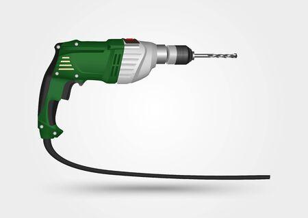 taladro electrico: ilustraci�n de taladro el�ctrico sobre un fondo blanco