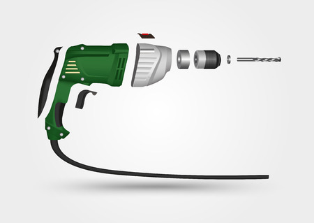 electric hole: illustration of electric drill in details isolated over a white background