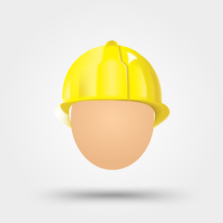 illustration of yellow electrical safety helmet isolated over white background