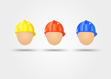 electrical safety: illustration of three electrical safety helmets isolated over white background