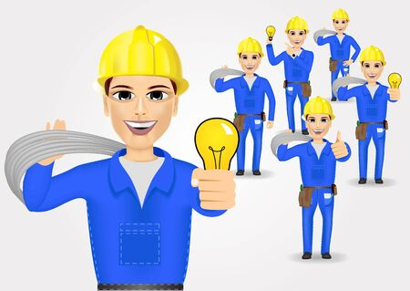 cabling: illustration of technical, electrician or mechanic in poses Illustration