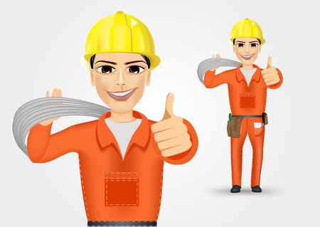 cabling: illustration of technical, electrician or mechanic giving thumbs up isolated over white background Illustration