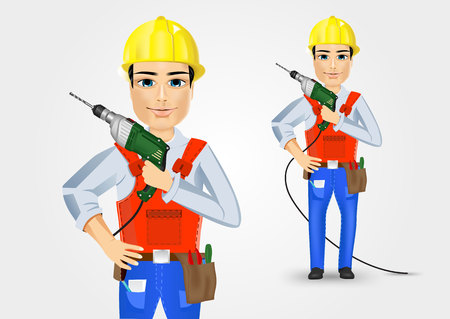 installing: illustration of technical, electrician or mechanic holding electric drill isolated over white background Illustration