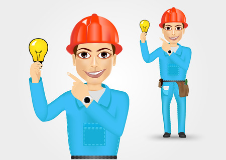 cabling: illustration of technical, electrician or mechanic pointing to a lamp isolated over white background