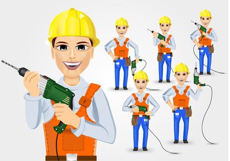 taladro electrico: conjunto de t�cnicas, electricista o mec�nico celebra el taladro el�ctrico aislado m�s de fondo blanco
