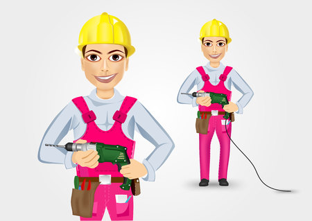 cabling: illustration of technical, electrician or mechanic holding electric drill in his hands isolated over white background Illustration
