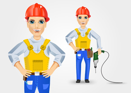 cabling: illustration of technical, electrician or mechanic holding electric drill down and with hand on hips isolated over white background